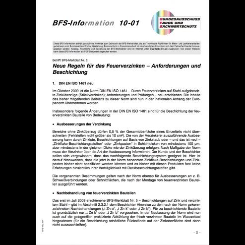BFS-Information 10-01 - Neue Regeln für das Verzinken - Anforderungen und Beschichtungen